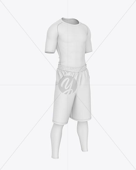 Men Compression T-Shirt w/ Shorts & Tights Mockup – Front Half Side View