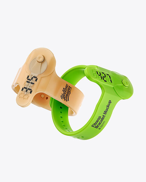 Two Fitness Silicone Bracelets Mockup