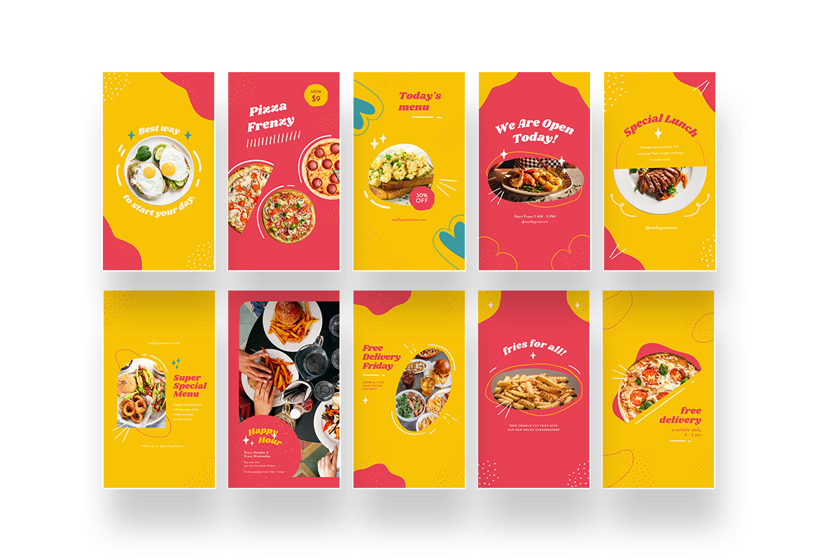 Bright Playful Fast Food Instagram Canva Template