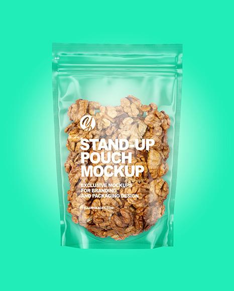 Clear Plastic Pouch w/ Walnuts Mockup