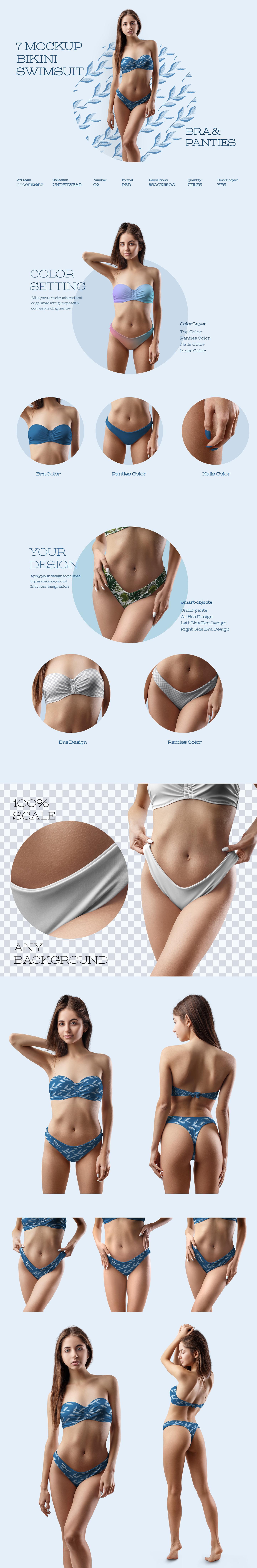 7 Mockups Bikini Swimsuit