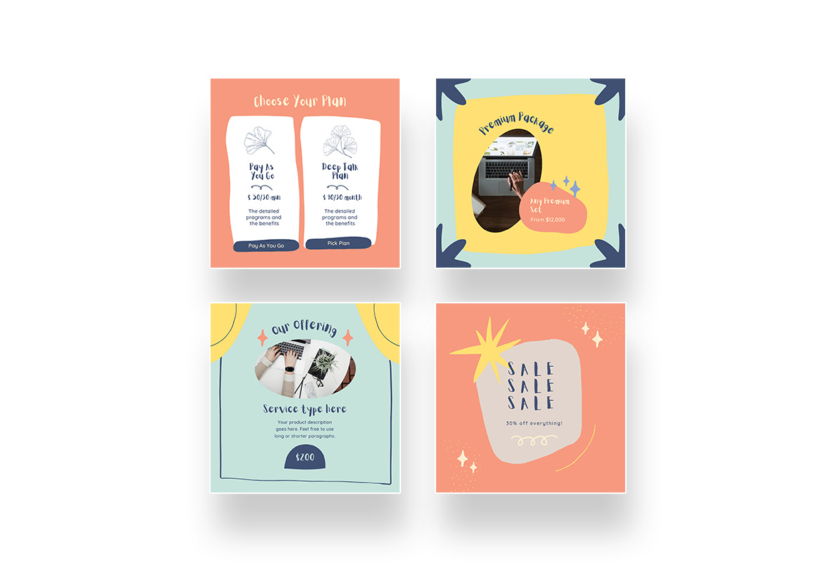 Cute and Playful Pricing Instagram Canva Template