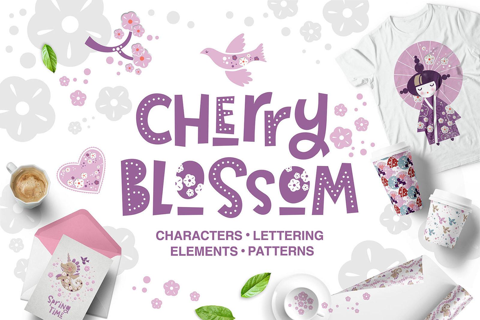 Cherry Blossom. Graphic set