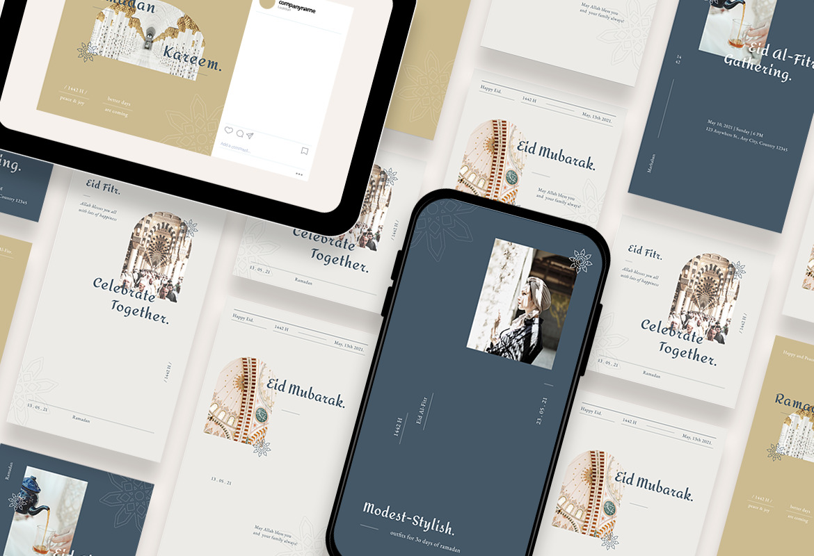 Beauty and Elegant Happy Eid Instagram Template
