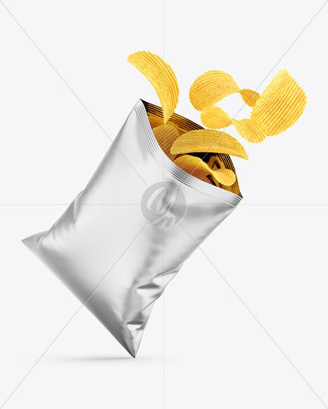 Opened Matte Metallic Bag With Riffled Potato Chips Mockup