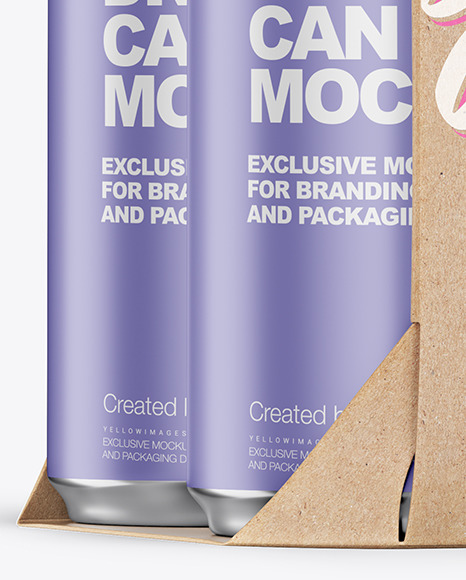 Carton Pack W/ 4 Matte Cans Mockup