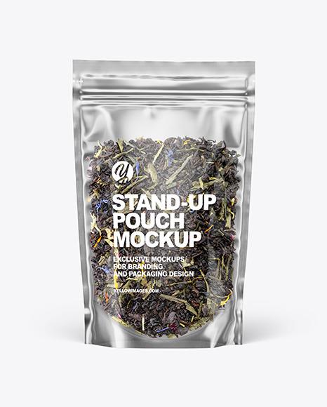 Clear Plastic Pouch w/ Green Tea Mockup