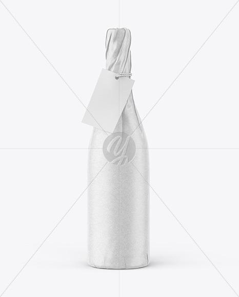 Wine Bottle in Kraft Paper Wrap Mockup