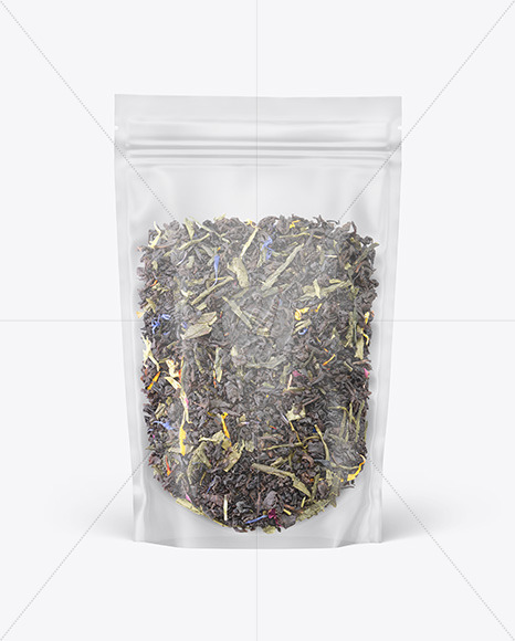 Frosted Plastic Pouch w/ Green Tea Mockup