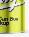 Glossy Metallic Tin Can Box Mockup