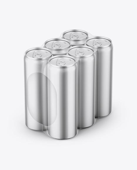 Matte Metallic Cans in Shrink Wrap Mockup