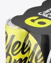 Matte Cans in Shrink Wrap Mockup