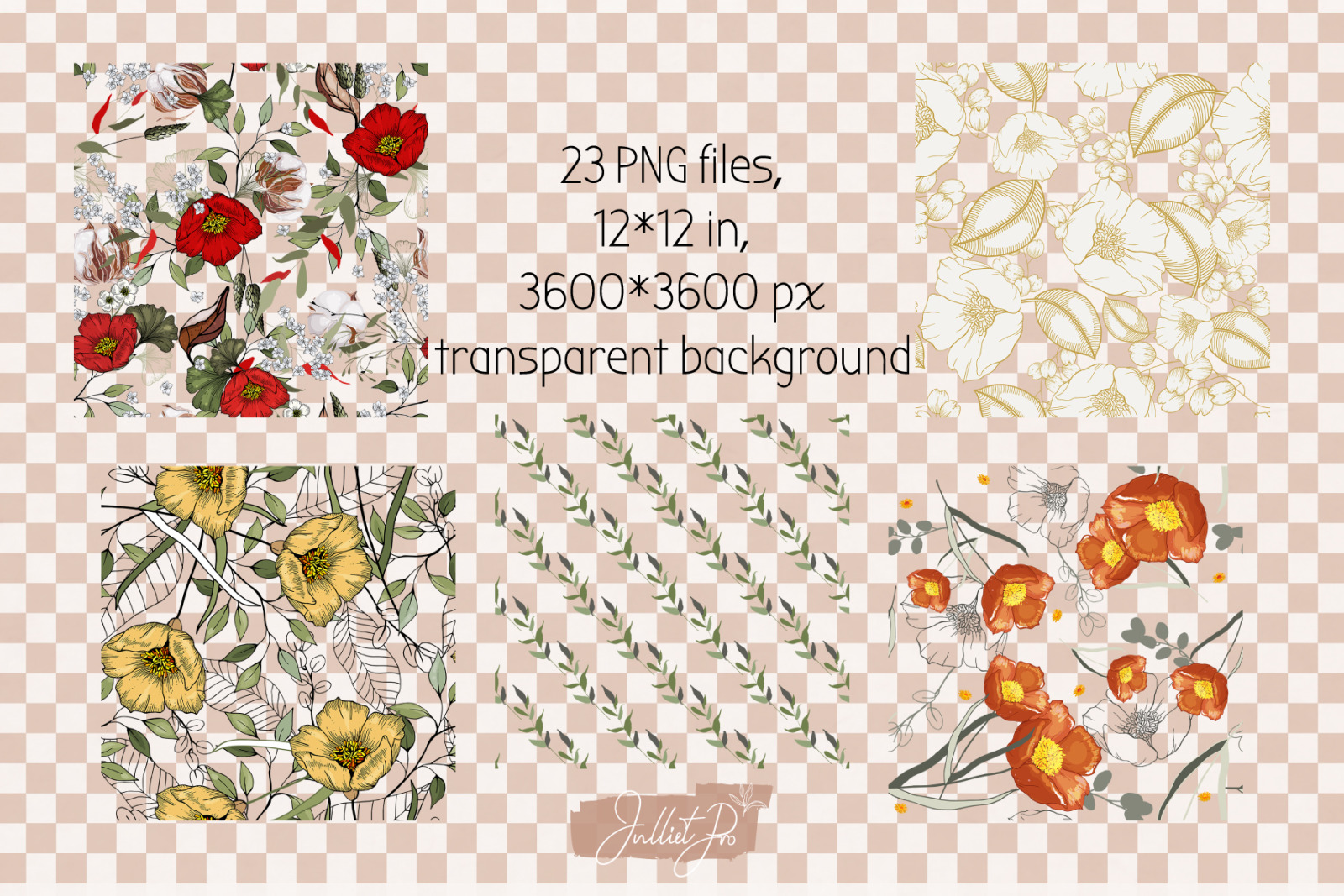 Flower Digital Paper Floral Seamless Designs, Summer Bundle Botanical Seamless Files