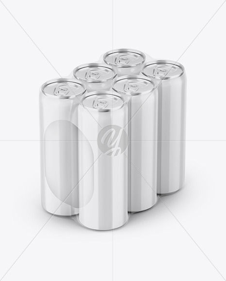 Glossy Cans in Shrink Wrap Mockup