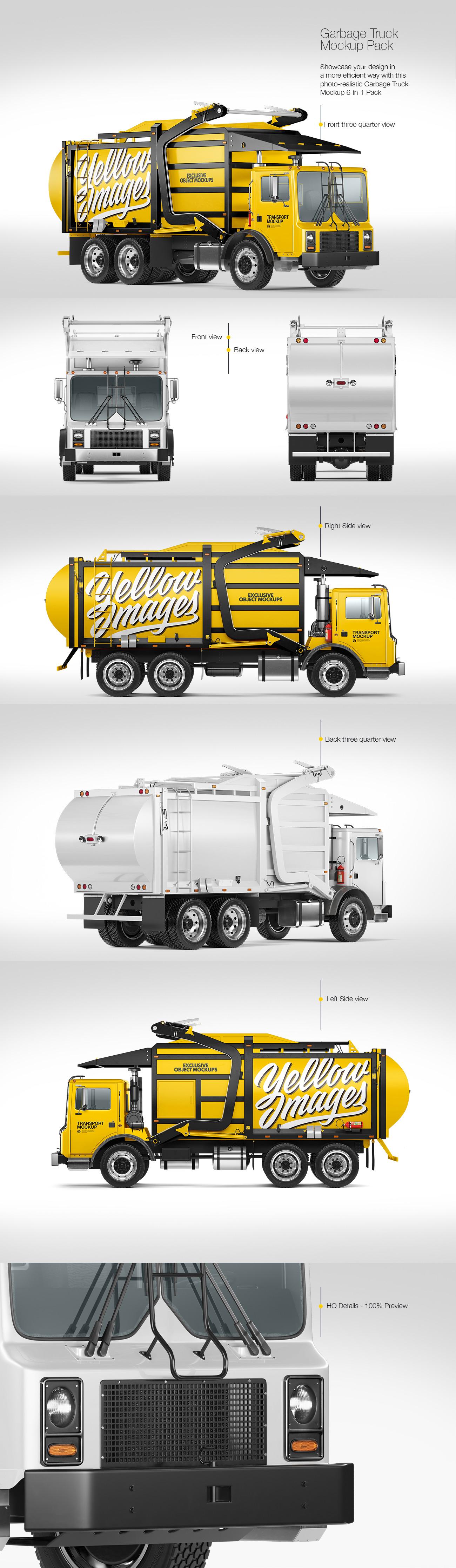 Garbage Truck Mockup Pack