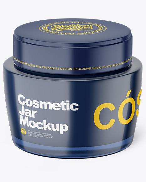 Dark Glass Cosmetic Jar Mockup