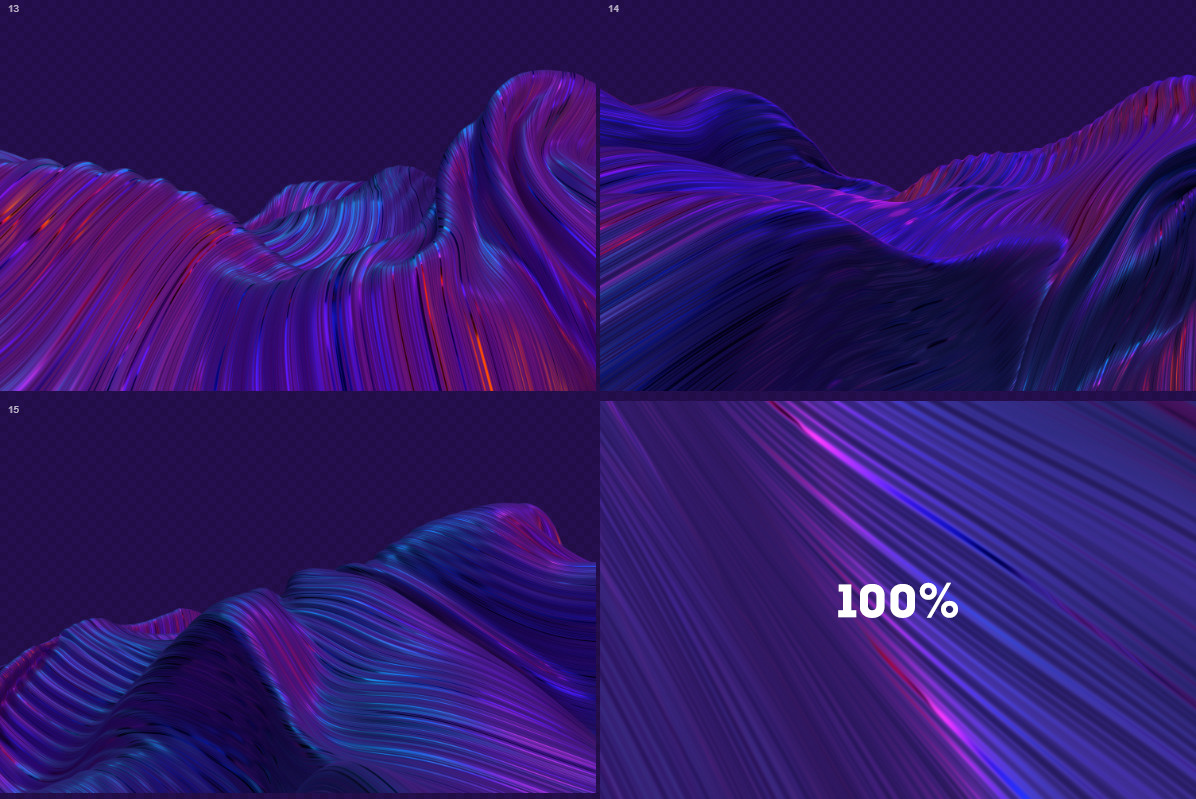 Abstract 3D Wavy Striped Backgrounds - Blue & Purple