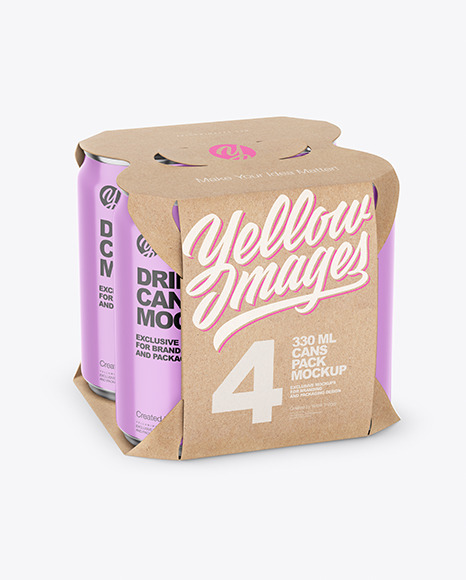 Carton Pack W/ 4 Glossy Cans Mockup