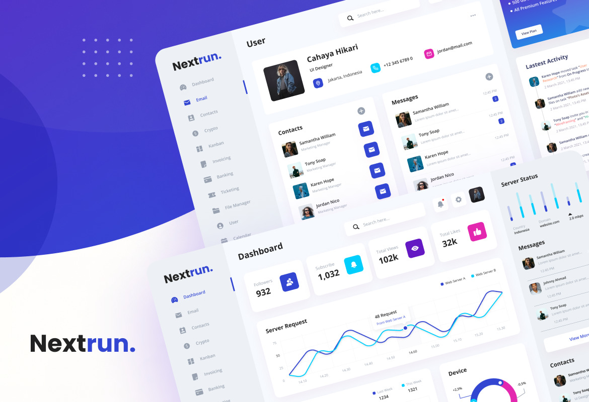 Nextrun - Neat Clean and Elegant Admin Dashboard