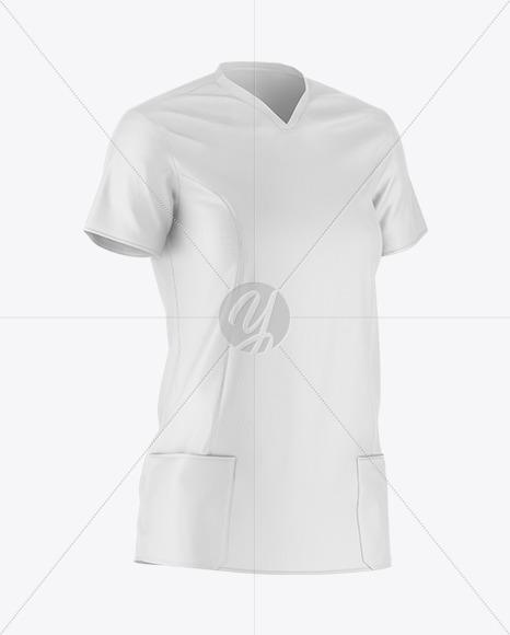 Medical Shirt Mockup - Front Half Side View