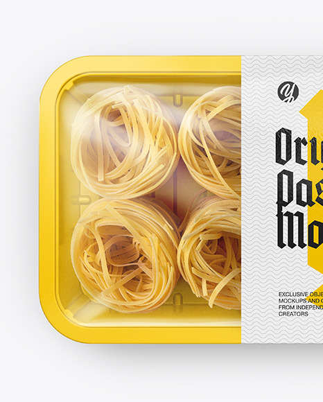 Plastic Tray With Pasta Mockup