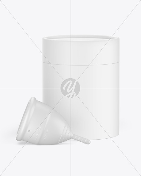Matte Menstrual Cup with Tube Mockup