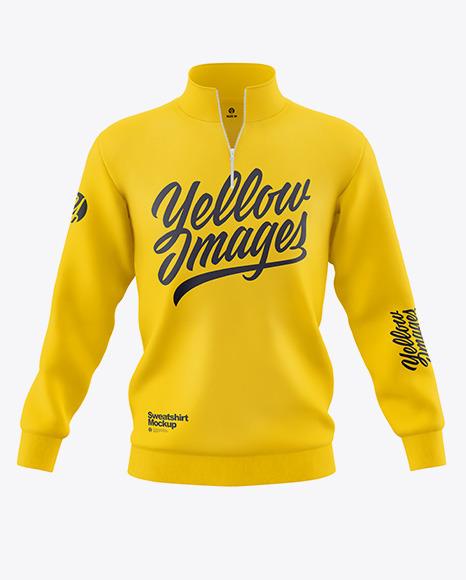 Men's Zip Sweatshirt Mockup - Front View