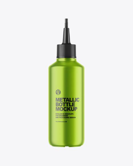 Metallic Bottle w/ Spout Cap Mockup