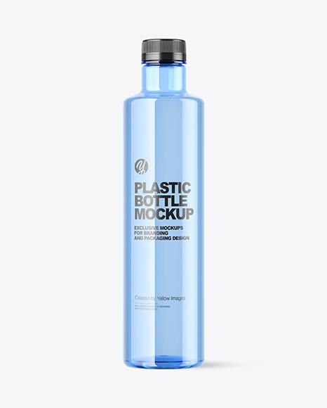Blue Plastic Water Bottle Mockup