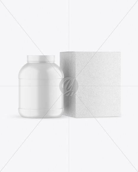 Matte Plastic Jar with Kraft Box Mockup
