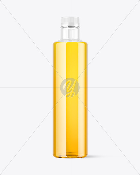 Clear Plastic Apple Juice Bottle Mockup
