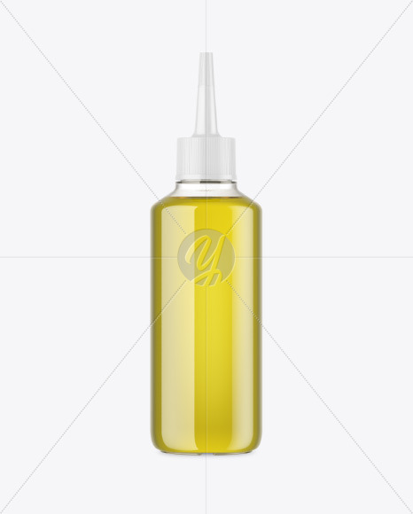 Clear Plastic Oil Bottle w/ Spout Cap Mockup