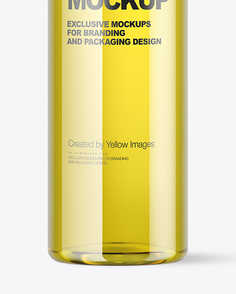 Clear Plastic Bottle with Oil Mockup