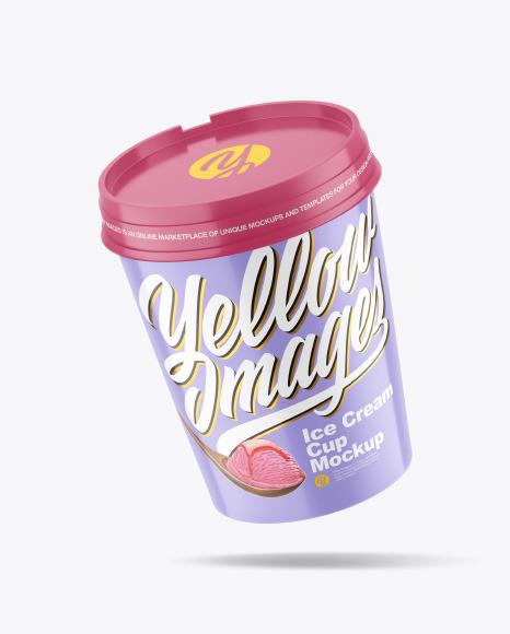Glossy Ice Cream Cup Mockup
