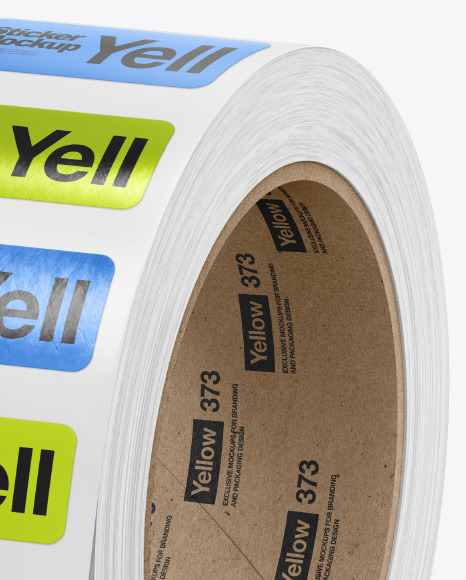 Roll with Metallic Stickers Mockup
