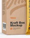 Matte Metallic Stick Sachet w/ Kraft Box Mockup