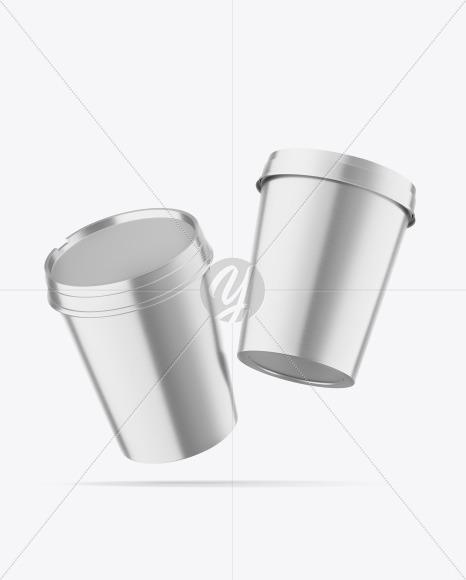 Two Metallic Ice Cream Cups Mockup