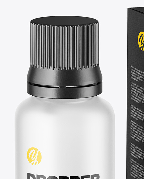 Frosted Glass Dropper Bottle with Paper Box Mockup