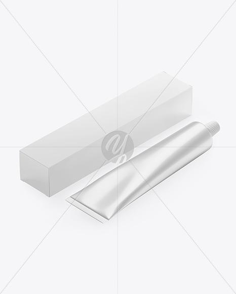 Glossy Box w/ Glossy Metallic Cosmetic Tube Mockup