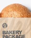 Kraft Paper Bag with Burger Bun Mockup