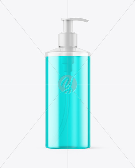 Color Liquid Bottle with Pump Mockup