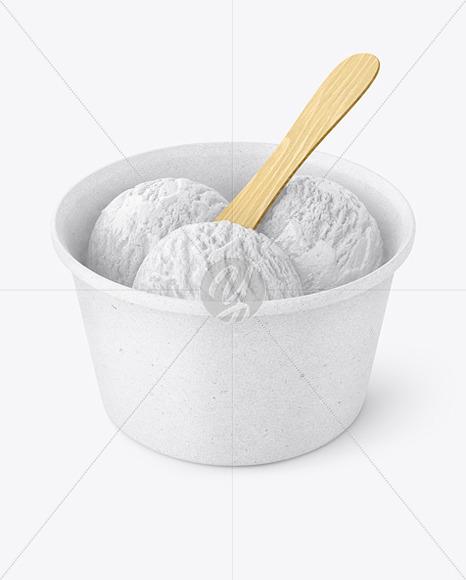 Ice Cream Kraft Paper Cup w/ Wooden Stick Mockup