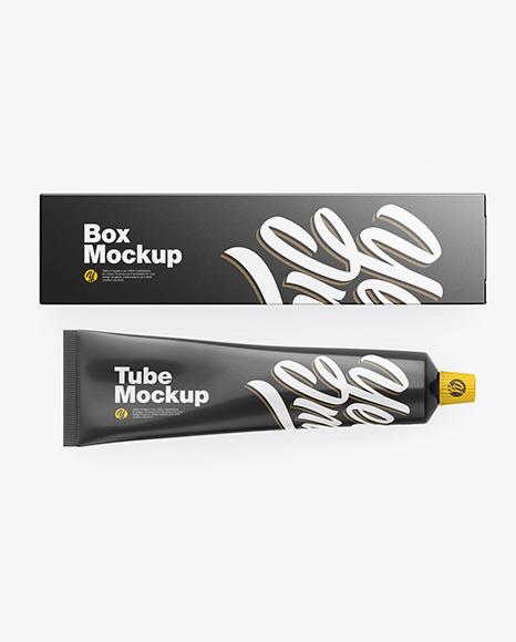Box w/ Glossy Cosmetic Tube Mockup