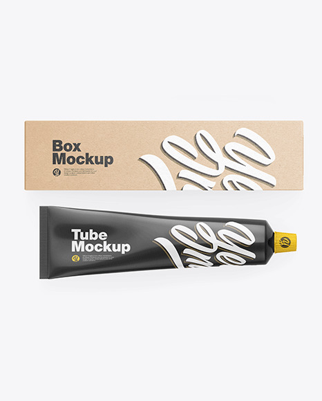 Kraft Box w/ Glossy Cosmetic Tube Mockup