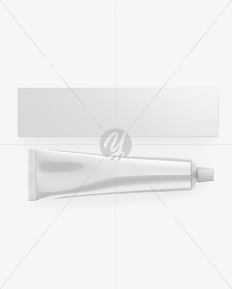 Box w/ Glossy Metallic Cosmetic Tube Mockup