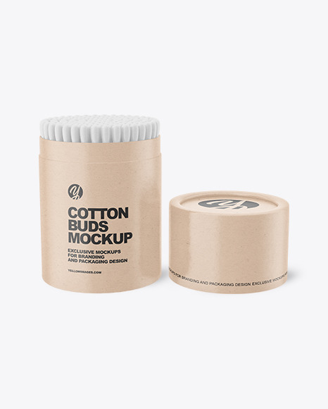 Kraft Paper Tube With Cotton Buds Mockup