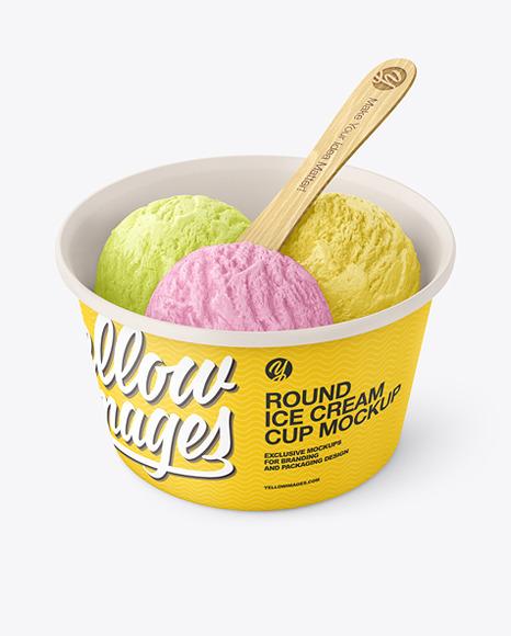 Matte Paper Ice Cream Cup w/ Wooden Stick Mockup