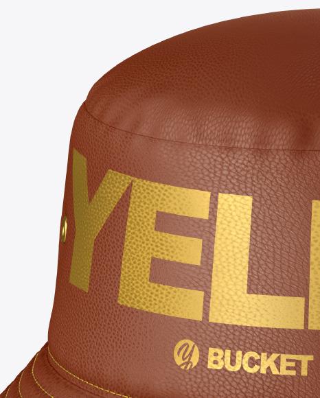 Leather Bucket Hat w/ Wide Brim Mockup
