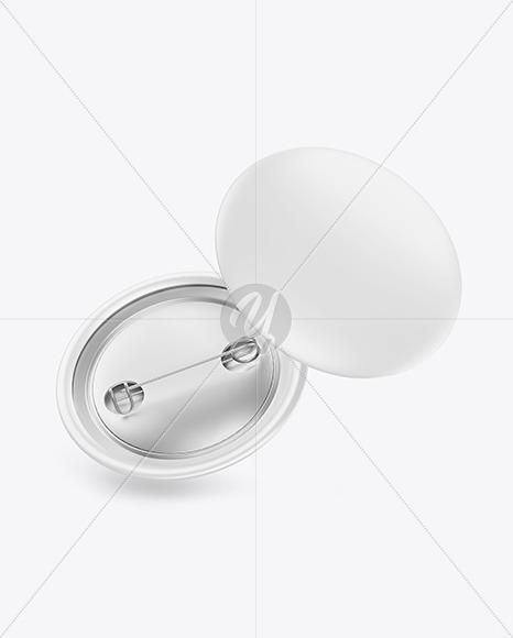 Two Matte Button Pins Mockup