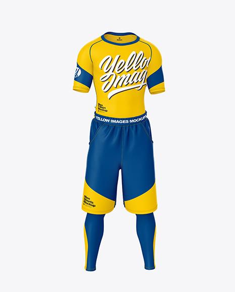 Men Compression T-Shirt and Shorts Mockup – Front View